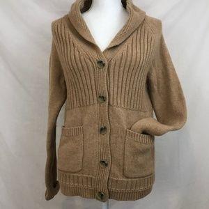 Madewell Shawl-Collar Rib Tan Cardigan Sweater